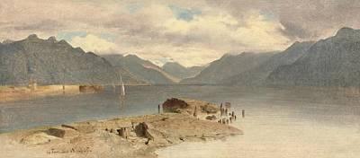 Lake Geneva Painting - La Tour Lake Geneva by MotionAge Designs