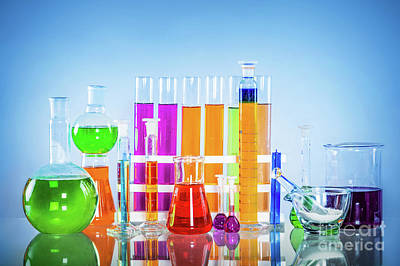 Lab Photograph - Laboratory Glass Set Filled With Colorful Substances. by Michal Bednarek