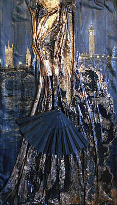 Mixed Media - Lady In Black And Gold by Angela Stout