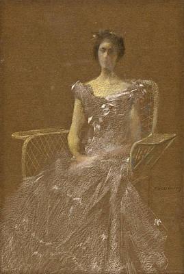 Lady In Rattan Armchair Art Print