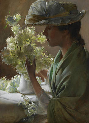 Painting - Lady With A Bouquet by Charles Courtney Curran
