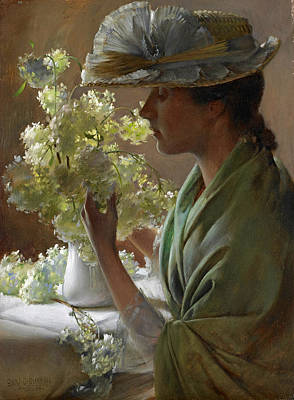 Painting - Lady With A Bouquet. Snowballs by Charles Courtney Curran