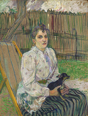 Puppy Painting - Lady With A Dog by Henri de Toulouse-Lautrec