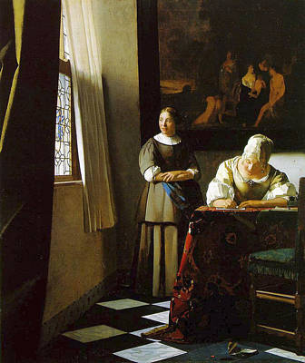 Interior Still Life Painting - Lady Writing A Letter With Her Maid by Johannes Vermeer