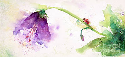 Painting - Ladybug And The Purple Flower by Lynne Furrer
