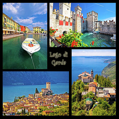 Photograph - Lago Di Garda Collage Postcard by Brch Photography