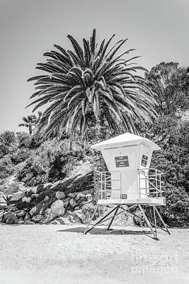 Laguna Beach Lifeguard Tower Black And White Picture Art Print by Paul Velgos