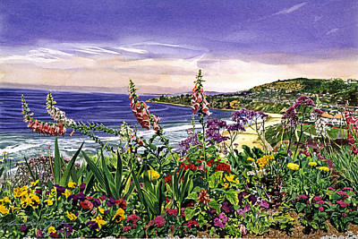 California Watercolor Artists Painting - Laguna Niguel Garden by David Lloyd Glover