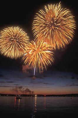 Lake Champlain Fireworks Art Print by John Burk