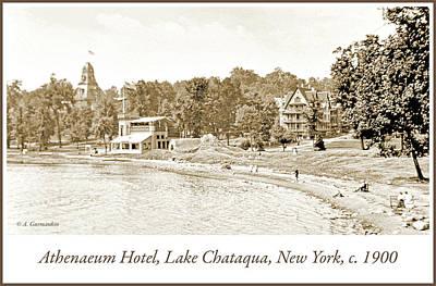 Photograph - Lake Chataqua, Athenaeum Hotel, New York, C. 1900 by A Gurmankin