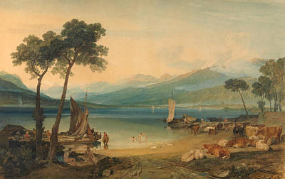 English Painting - Lake Geneva And Mount Blanc by JMW Turner