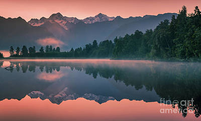 Fox Glacier Photograph - Lake Matheson by Henk Meijer Photography