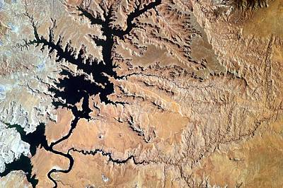 Painting - Lake Powell From The Space Stations Earthkam by Celestial Images