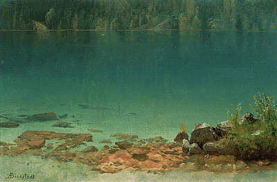 Lake Scene Art Print by Albert Bierstadt