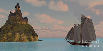 Boating Digital Art - Lake Schooner And Castle by Corey Ford