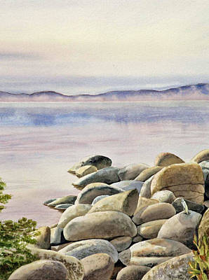 Birds Living In Nature Painting - Lake Tahoe by Irina Sztukowski