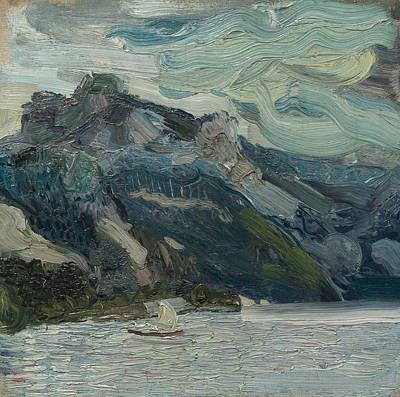 Painting - Lake Traun With Mountain Sleeping Greek Woman by Richard Gerstl