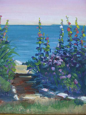 Painting - Lakeside Hollyhocks by Judy Fischer Walton