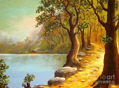 Lakeside Path Art Print by Shasta Eone