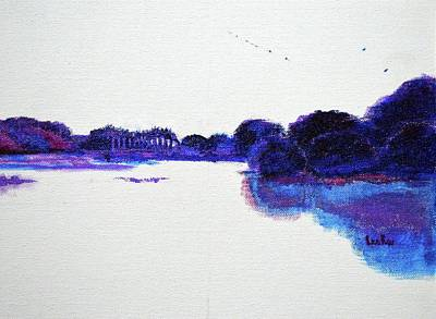 Painting - Lal Bagh Lake Panorama 1 Diptych by Usha Shantharam