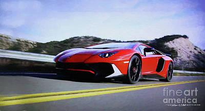 Digital Art - Lamborghini Aventador Sv Lp750-4 by Roger Lighterness