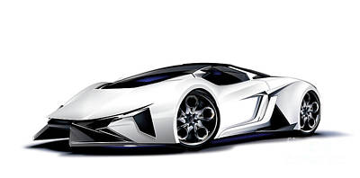 Drawing - Lamborghini by Brian Gibbs