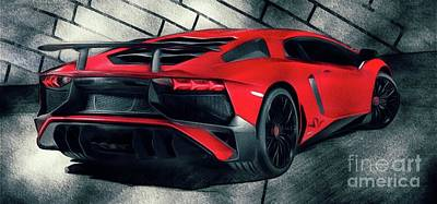 Sports Paintings - Lamborghini by Esoterica Art Agency