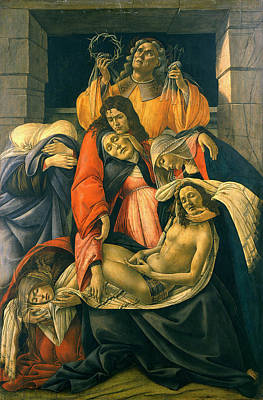 Wept Painting - Lamentation Over The Dead Christ by Sandro Botticelli