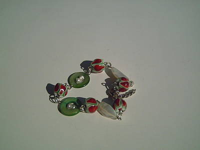 Flameworking Glass Art - Lampwork Bracelet With Mother Of Pearl by Ozlem Ercan