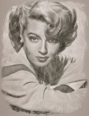 Musicians Drawings Rights Managed Images - Lana Turner by John Springfield Royalty-Free Image by John Springfield