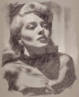 Celebrities Paintings - Lana Turner by Esoterica Art Agency