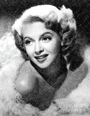 Musicians Drawings - Lana Turner, Vintage Actress by JS by John Springfield