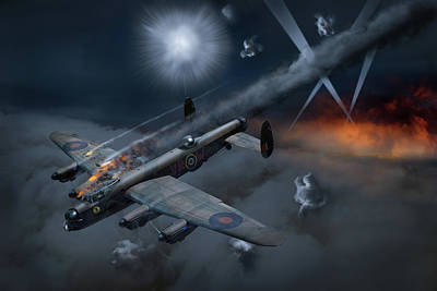 Photograph - Lancaster Kb799 Under Fire by Gary Eason