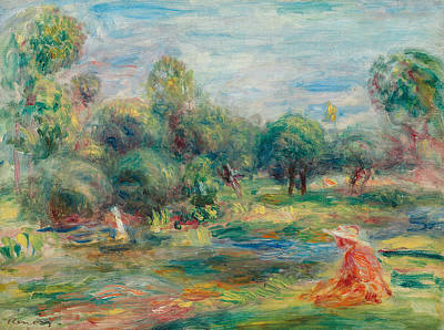 At Peace Painting - Landscape At Cagnes by Pierre Auguste Renoir