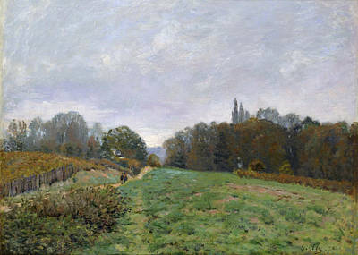 Road Painting - Landscape At Louveciennes by Alfred Sisley
