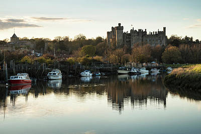 Arundel Castle Photograph - Landscape Image Of Old Medieval Castle Viewed Across River At Su by Matthew Gibson