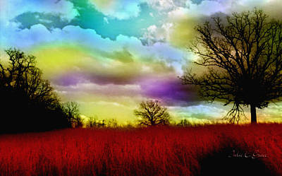 Fantasy Tree Mixed Media - Landscape In Red by Julie Grace