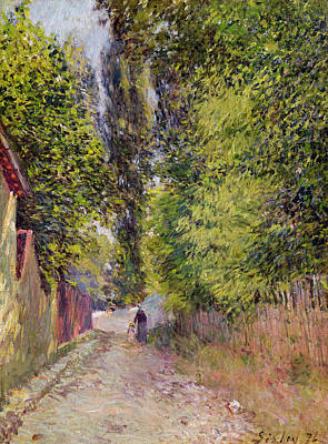 Pathway Painting - Landscape Near Louveciennes by Alfred Sisley