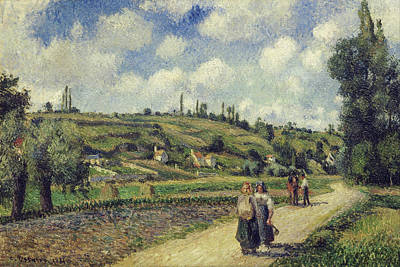 Pathway Painting - Landscape Near Pontoise, The Auvers Road by Camille Pissarro