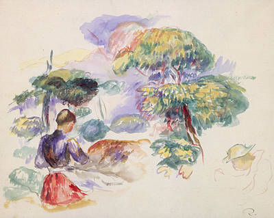 Painting - Landscape With A Girl by Auguste Renoir