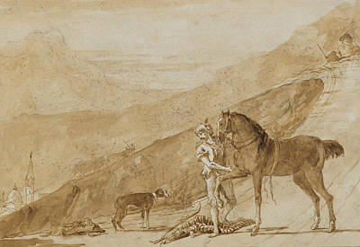 Drawing - Landscape With A Horse Held By A Page by Giovanni Domenico Tiepolo
