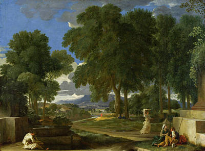 Poussin Painting - Landscape With A Man Washing His Feet At A Fountain by Nicolas Poussin