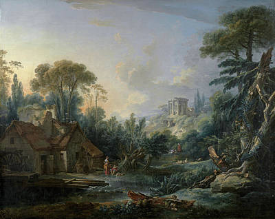 Construction Painting - Landscape With A Water Mill by Francois Boucher
