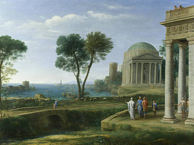 Aeneas Painting - Landscape With Aeneas At Delos by Claude Lorrain