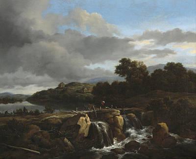 Cascade Painting - Landscape With Cascade by Jacob van Ruisdael