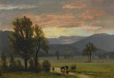 Landscape With Cattle Art Print by Albert Bierstadt