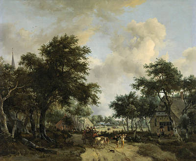 Meindert Hobbema Painting - Landscape With Cheerful Companionship by Meindert Hobbema