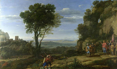 David Painting - Landscape With David At The Cave Of Adullam by Claude Lorrain