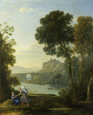 Archangel Art Painting - Landscape With Hagar And The Angel by Claude Lorrain