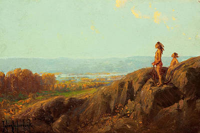 Painting - Landscape With Indian Scouts by Julian Onderdonk
